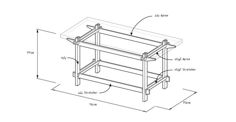 دیاگرام میز ساده چوبی