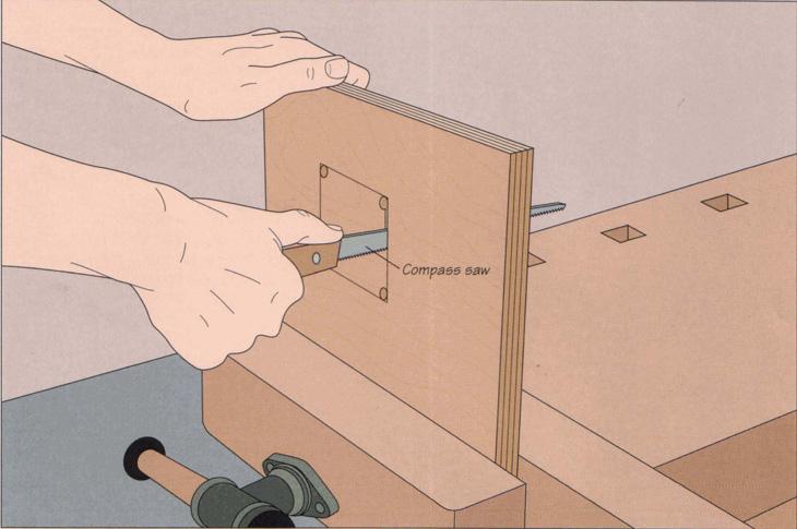 خالی کردن داخل قطعه کار با اره نوکی